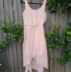Blush pink gauze hi low dress with wide straps
